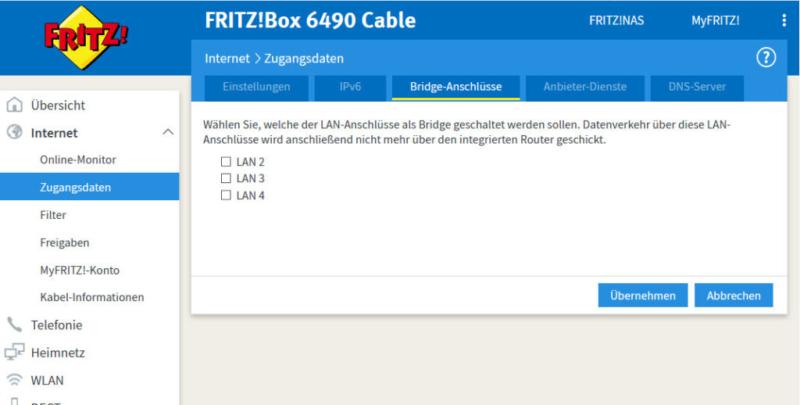 fritzbox 6490 im bridge modus fritz os it systemhaus kassel. Black Bedroom Furniture Sets. Home Design Ideas